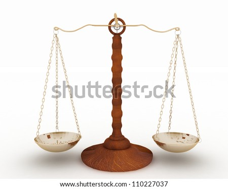 classic scales of justice on white background - stock photo