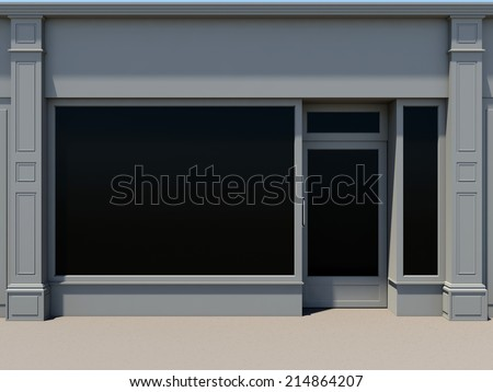 Classic shopfront with large windows. Classic store facade. - stock photo