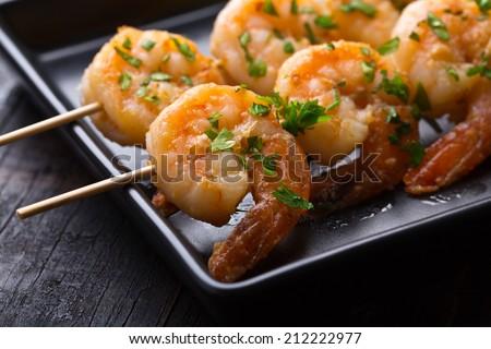 classic shrimp skewers - stock photo