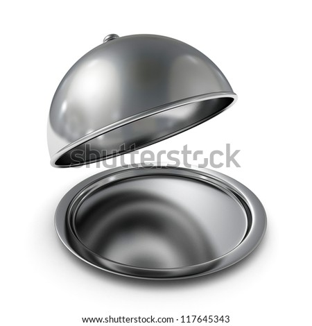 classic silver opened cloche on white background - stock photo