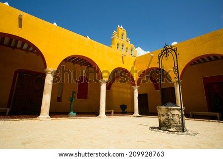 classic Spanish interior courtyard in Mexico  - stock photo