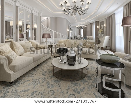 Classic style living room design. 3d render - stock photo