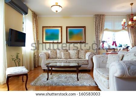 Classic style living room interior - stock photo