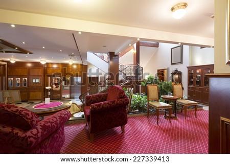 Classic styled hotel lobby interior - stock photo