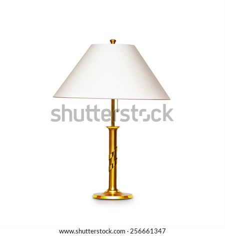 Classic table lamp isolated on white background. Object with clipping path - stock photo