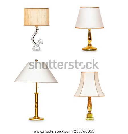 Classic table lamps collection isolated on white background - stock photo