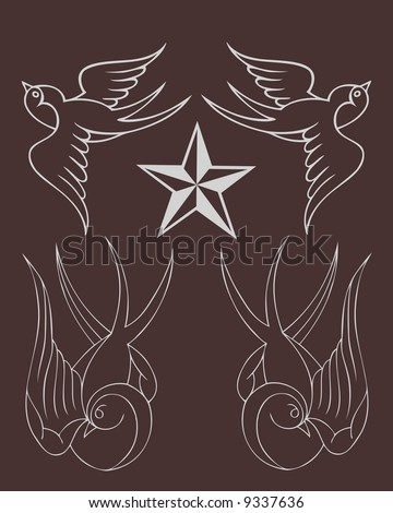 classic tattoo sparrow image - stock photo