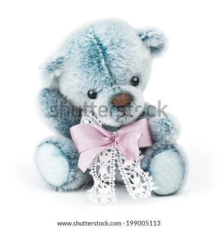 Classic teddy bear on white background - stock photo