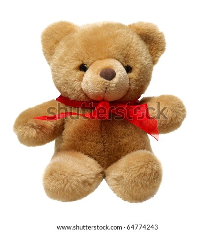 Classic teddy bear with red bow isolated on white background - stock photo