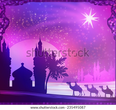 Classic three wise men scene and shining star of Bethlehem  - stock photo