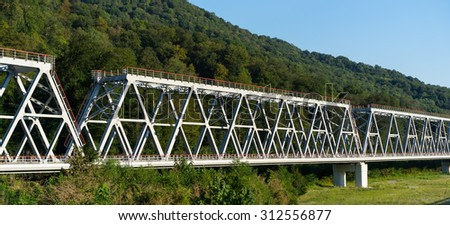 classic train bridge. Horizontal  - stock photo
