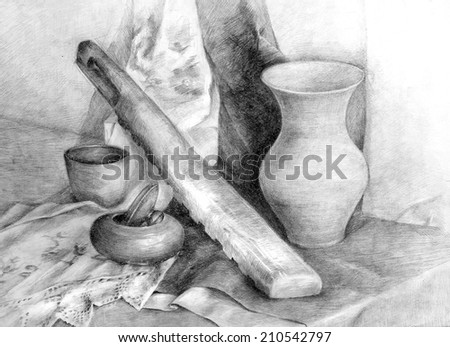 Classic training graphic still life with various objects on the draperies. Pencil drawing on paper. - stock photo