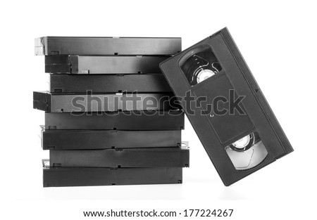 Classic vhs cassette isolated on white - stock photo