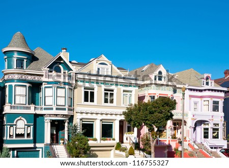 Classic victorian houses in San Francisco, California, USA - stock photo