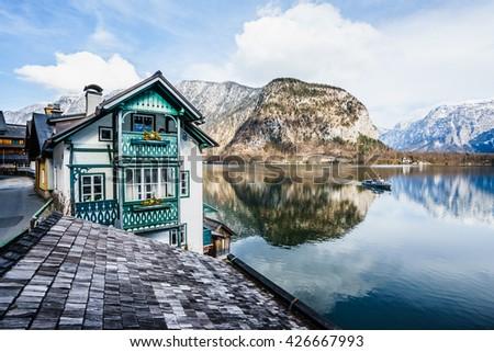Classic view of Hallstatt village in Alps, Austria - stock photo