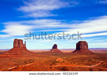 Classic View of Monument Valley Tribal Park, Arizona. - stock photo
