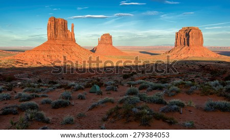 Classic View of Monument Valley Tribal Park, Utah - stock photo