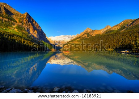 Classic view of world famous Lake Louise, Canada - stock photo