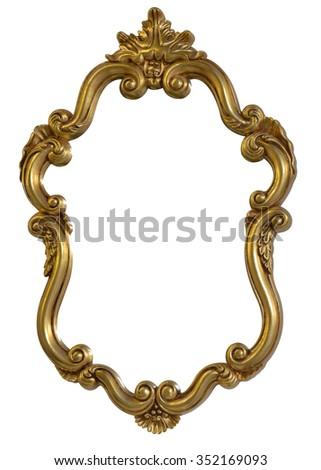 Classic vintage Antique gilded frame isolated on black background with Clipping Path.  - stock photo