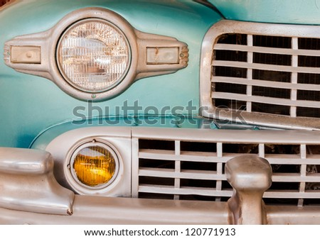 Classic Vintage car Front Grill and Headlight detail - stock photo