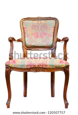 Classic vintage wooden chair isolated on white - stock photo