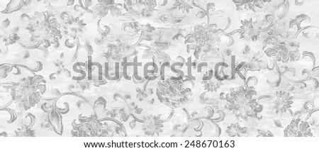 classic wallpaper seamless vintage flower pattern - stock photo