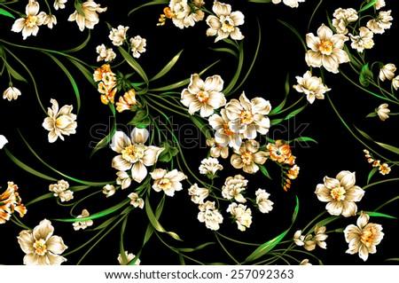 classic wallpaper seamless vintage flower pattern on Black background - stock photo
