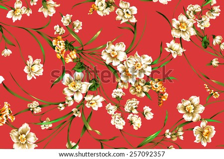 classic wallpaper seamless vintage flower pattern on Red background - stock photo
