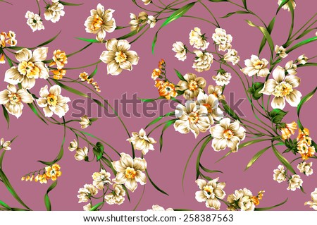 classic wallpaper vintage flower pattern on purple background - stock photo