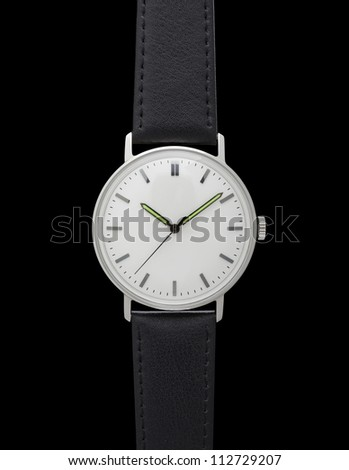 Classic watch isolated on black - stock photo