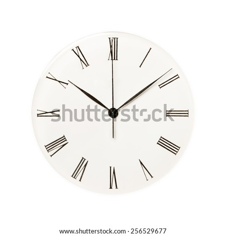 Classic watch isolated on white background, concept for time, past or deadline  - stock photo