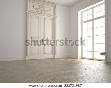 classic white room with window and a view - stock photo