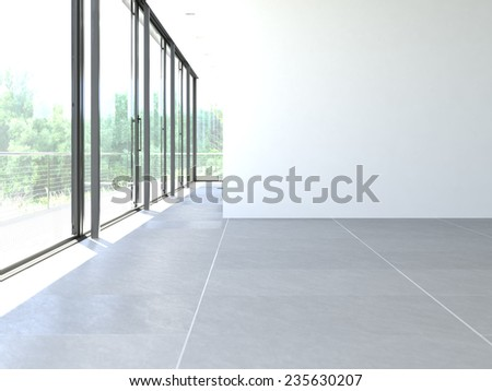 classic white room with window and a view. 3d rendering - stock photo