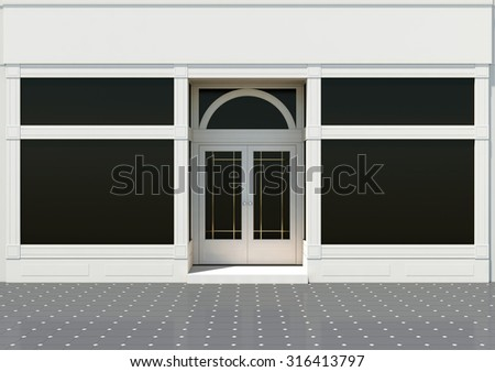 Classic white store facade - frontshop with large windows - stock photo