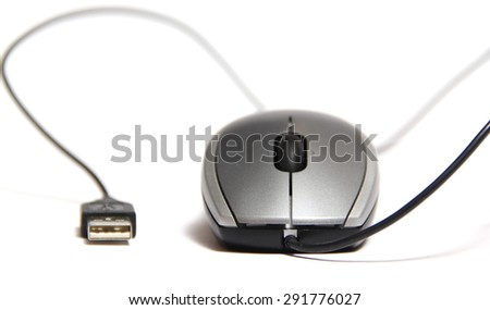 classic wired computer mouse isolated - stock photo
