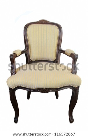 classic wood fabric chair isolated - stock photo