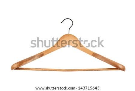 Classic wooden coat hanger isolated over white background, front view - stock photo