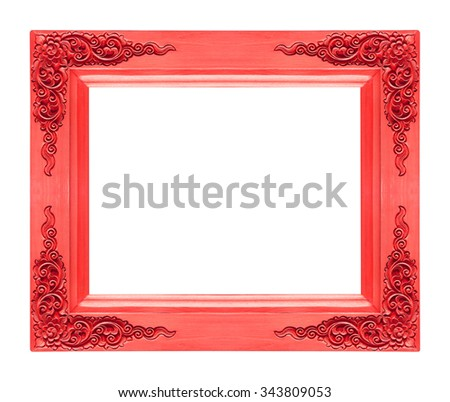 Classic wooden frame isolated on white background, red color - stock photo