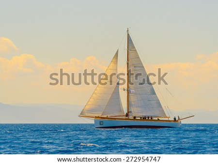 classic wooden sailing boat in a race, Spetses island in Greece - stock photo