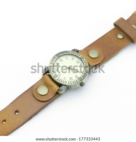 classic Wristwatch isolated on white background - stock photo
