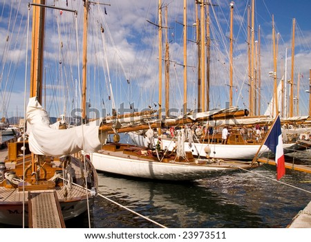 Classic Yacht 1 - French Flag - stock photo
