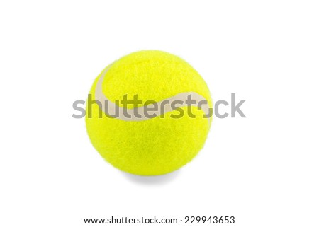 Classic yellow new tennis ball closeup isolated on white background - stock photo