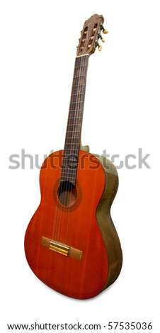 Classical acoustic guitar isolated - stock photo