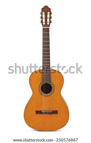 Classical acoustic guitar isolated on white background - stock photo