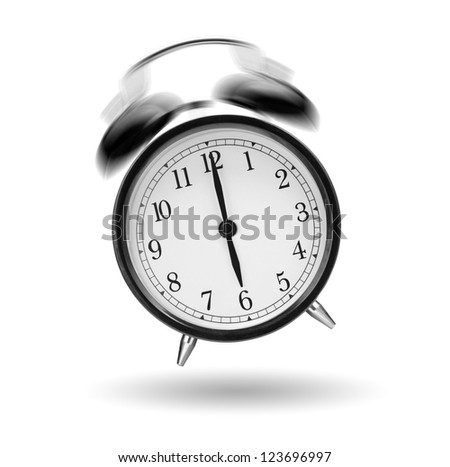 classical alarm clock ringing on white background - stock photo
