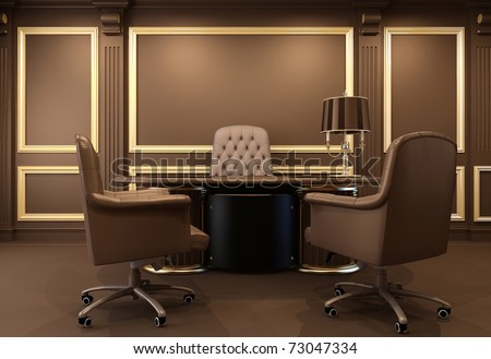 Classical and modern office interior. Workplace. Luxurious table. Old apartment - stock photo