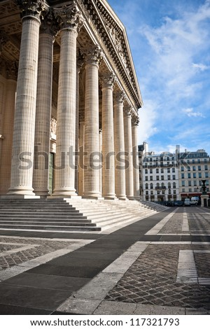 Classical antic columns at the front of the pantheon in Paris, France - stock photo