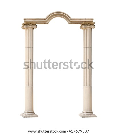 classical architectural arch isolated on white background - stock photo