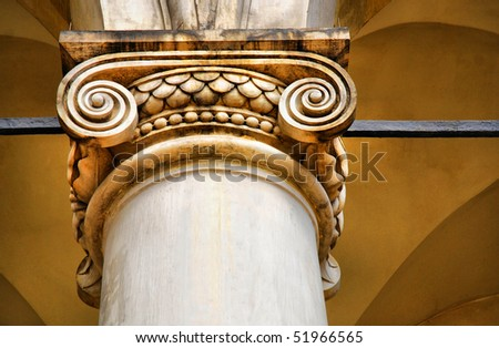 Classical Architectural Column. Royal Wawel Castle, Cracow. Poland - stock photo