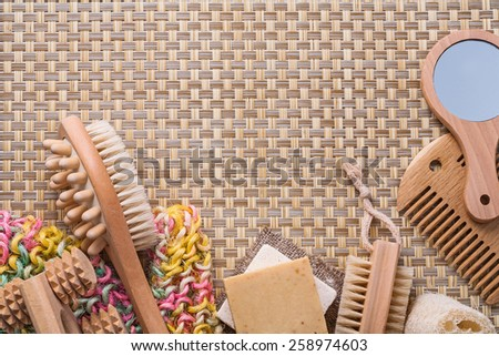 classical bathroom accessories on wicker background with copyspace  - stock photo